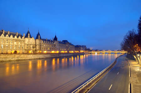 The river seine at night time photo