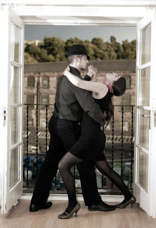 Two tango dancers in la boca, Buenos Aires Argentina photo