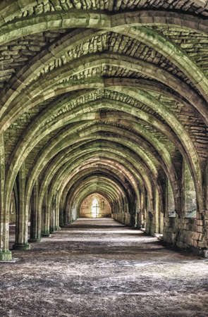 u k: Beautiful Arches of an ancient Monastery in North Yorkshire, U K