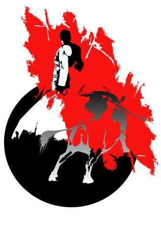 stierenvechten  Stock Illustratie