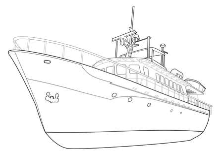 yacht line Illustration