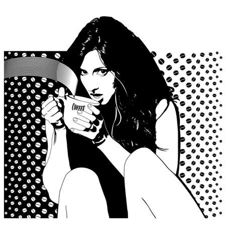 warm drink: women coffee Illustration