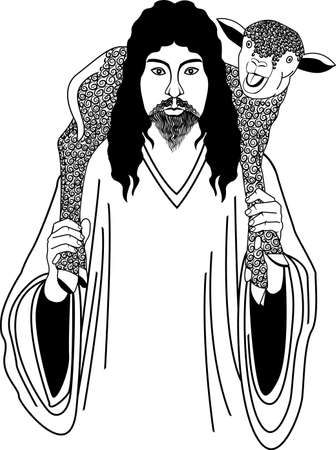 jesus and sheep Stock Vector - 4942543