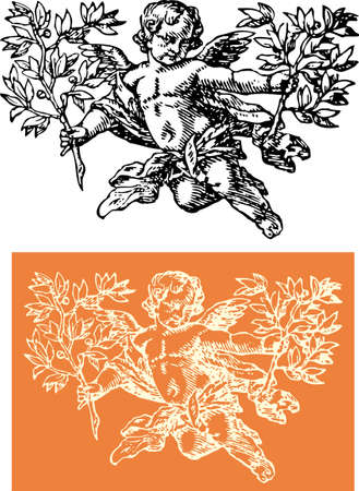 cherub with sprig Vector