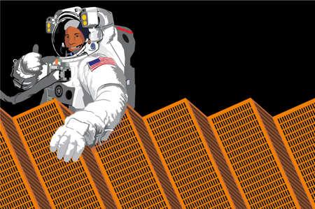 docking: astronaut-solar collector Illustration