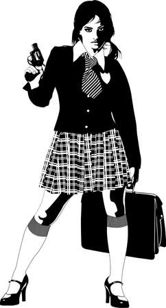 woman with gun: school girl gun