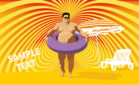 absurd: fat swimmer Illustration