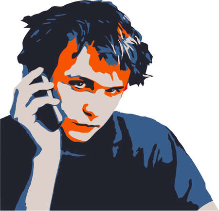 man on cell phone: adolescentes m�viles  Vectores