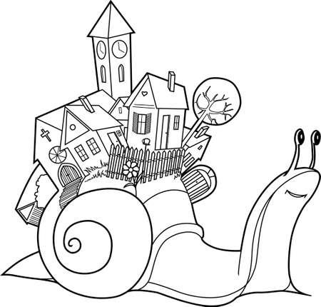 slakken dorp  Stock Illustratie