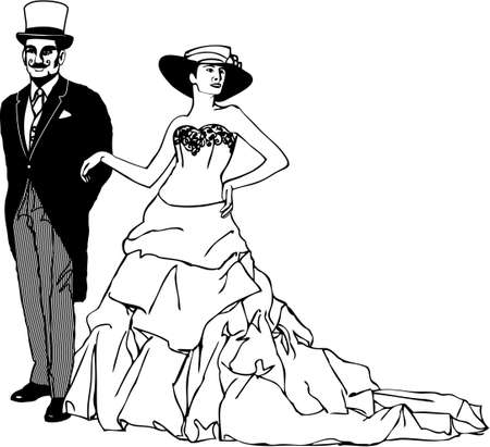 właścicielka owner a gentleman Ilustracje wektorowe
