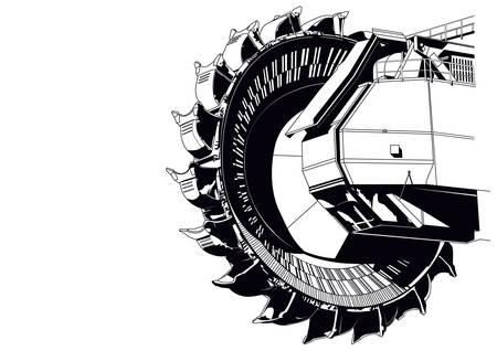 Giant bucket wheel excavator Illustration