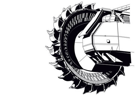 Giant bucket wheel excavator Illustration