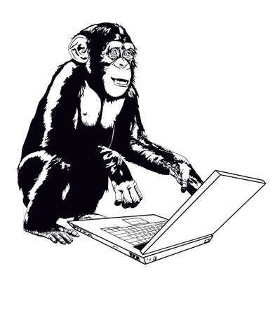 monkeys and laptop Vector