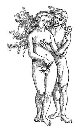 adam eve: Adam and Eve Illustration