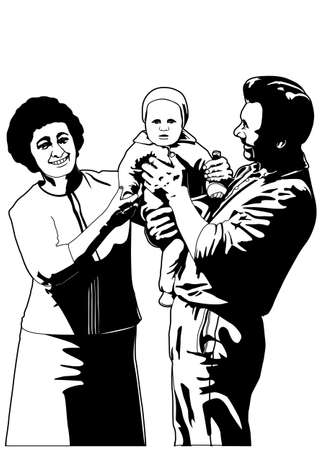 mom and son: family Illustration