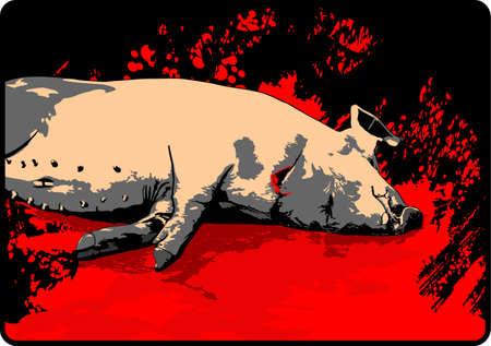 slaughtering: macellazione del maiale Vettoriali