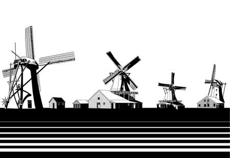 the netherlands: molens Nederland Stock Illustratie
