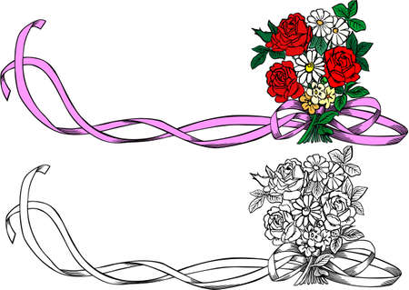 bouquet roses Vector
