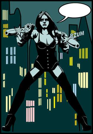 girl guns comics Vector