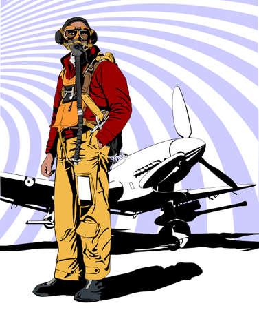 fighter pilot: pilota militare WW 2 Vettoriali