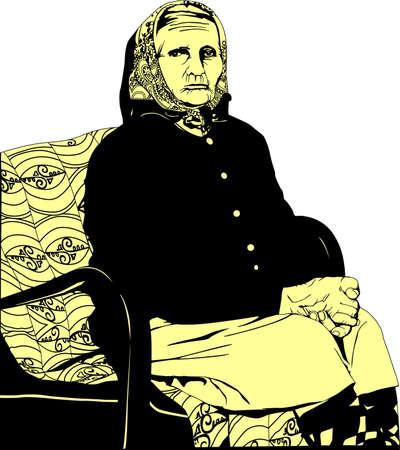 easy chair: seniors grandmother Illustration