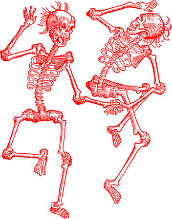 skeletons dancing dead Illustration