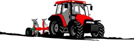 tractor plow Vector