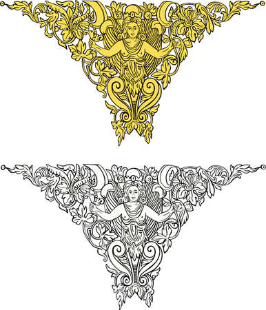 fresko: Jahrgang Frauen Ornament Illustration