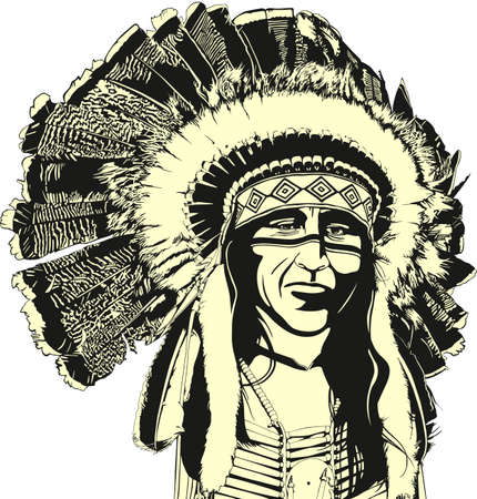 warrior tribal: native american Illustration