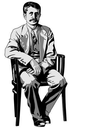 old man sitting: Man sitting on a chair
