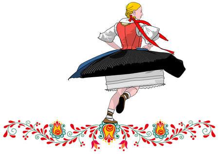 dancer folklore czech Illustration
