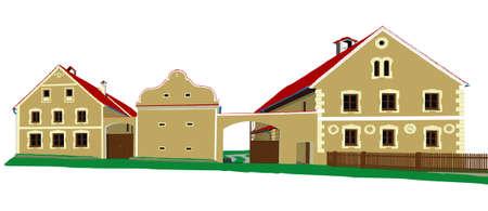 gable: historic houses illustration Illustration