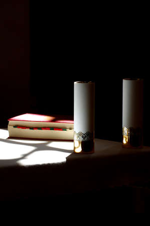 supplication: bible and candle Stock Photo