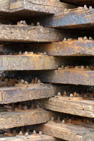 sleepers: old wooden sleepers Stock Photo