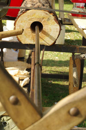 hand crank: drilling wood handicraft Stock Photo