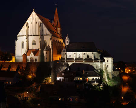 lightsome: Znojmo Czech republic night scene Stock Photo