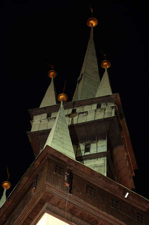 guildhall: tower gothic details night scene