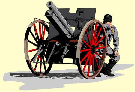 artilleryman World War I Illustration