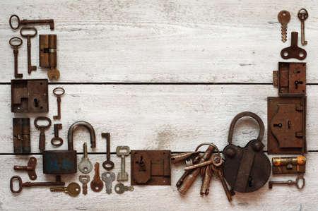 old keys and padlocks framework photo