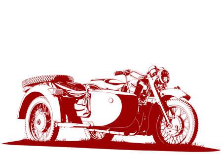 バイクのサイドカーの図  イラスト・ベクター素材