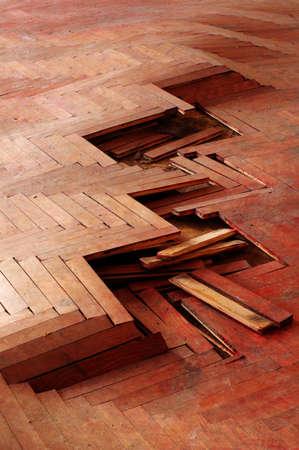 splintered: wooden parquet floor red 2