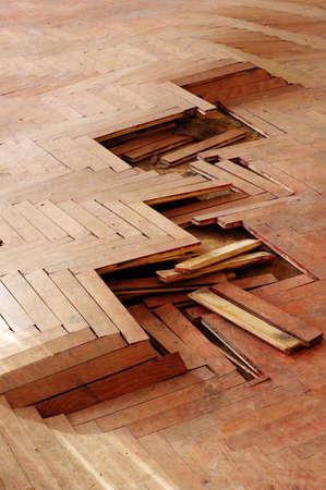 splintered: wooden parquet floor red 3 Stock Photo