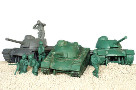 green military miniature: plastic toy battle tanks Stock Photo