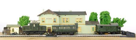 electric train railway station miniature