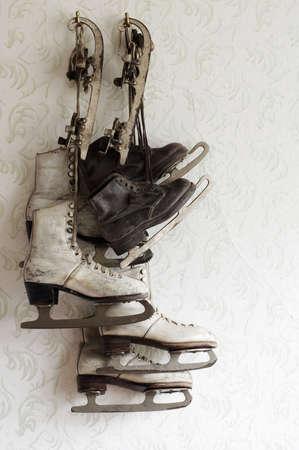 ice skate still life vintage 2 Banco de Imagens
