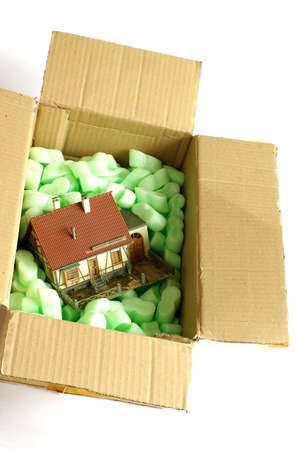 dollhouse: house miniature in the box Stock Photo