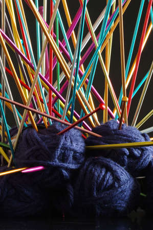 anodized: knitting needle ball wool