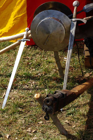 weapons: medieval weapons hand cannon and swords