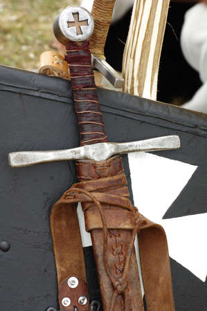 weaponry: sword and shield medieval weapons Stock Photo