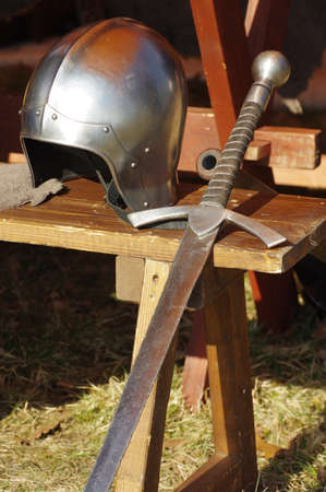 weaponry: sword and helmet medieval weaponry